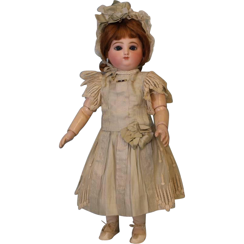 17 inch Antique Round face Jules Steiner Doll Marked mama papa body Antique Clothes