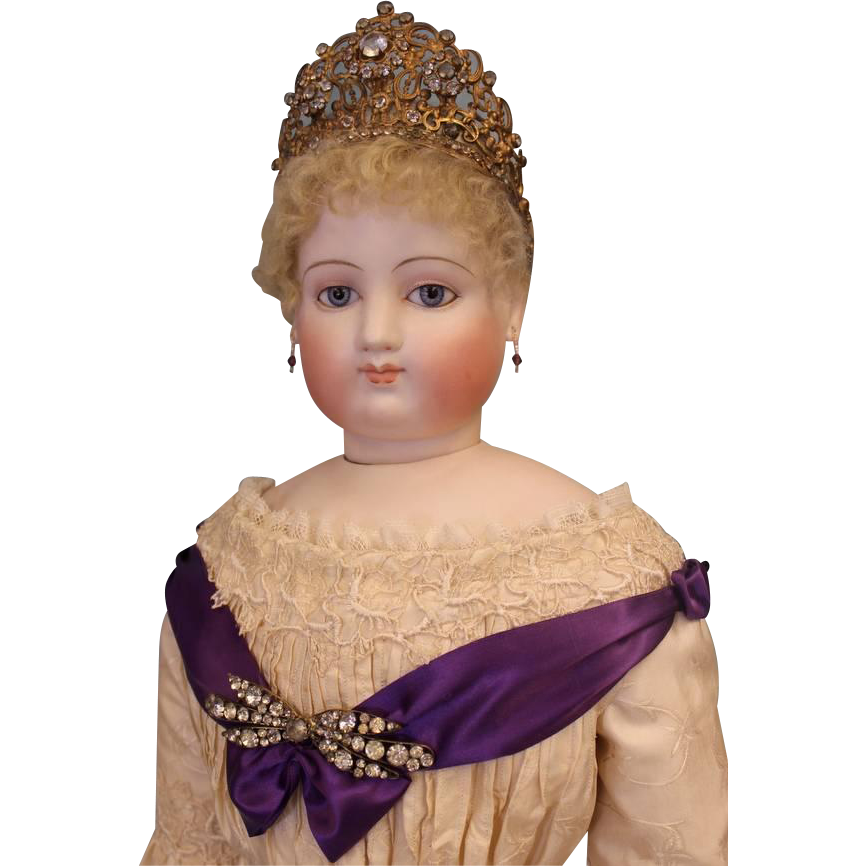 34 inch Antique French Fashion Jumeau Countess Doll with Crown on Stamped Jumeau body