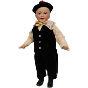 20 inch Antique SFBJ 235 French Bisque Character boy Doll Solid Dome head Glass Eyes