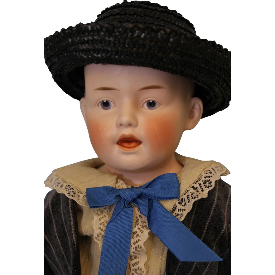 19 inch German Bisque Character Doll Marked 6 Just Like Heubach 7580 Mold Adorable