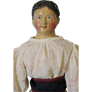 23 inch Antique Milliner's Model Papier Mache Girl Doll Short Hair 1850 Old Clothes