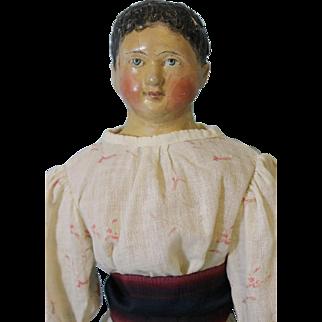23 inch Antique Milliner's Model Papier Mache Girl Doll Short Hair 1850 Old Clothes
