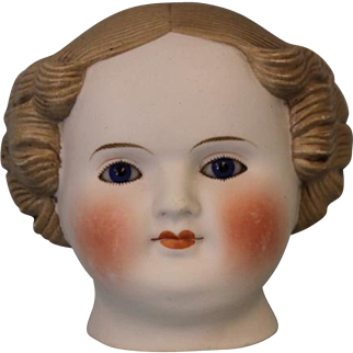 c.1880's Antique Parian Doll Head Beautiful Cobalt Blue Eyes and Flange Neck