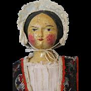 Antique c.1880 16 inch Wooden German Doll Original Regional Clothing