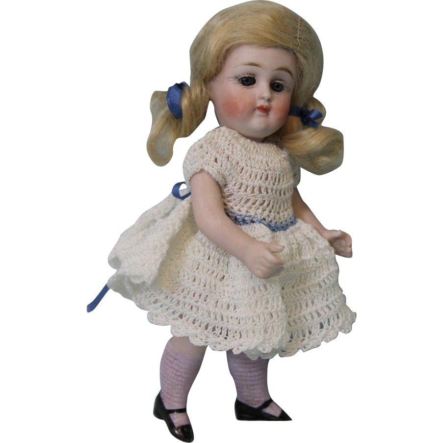 6.5 inch all bisque swivel head 172 German Kestner doll pink stockings Closed M