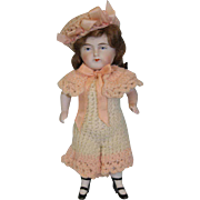 Antique 6 Inch All bisque German painted eye doll Two strap bootines Chubby body