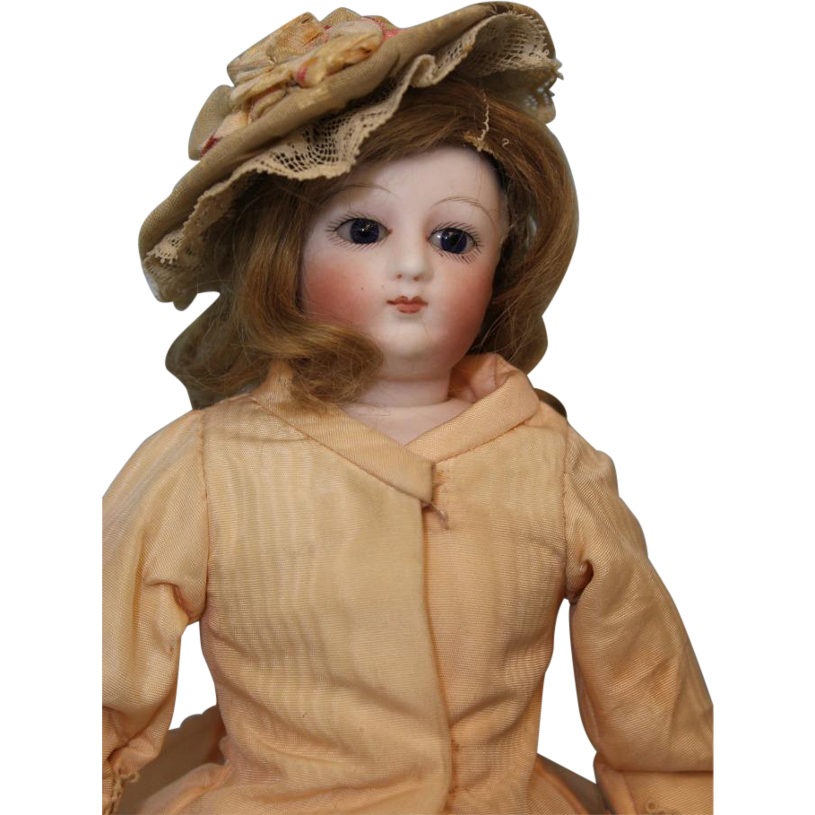 11-1/2 inch Antique Swivel Head French Fashion doll Dressed, Kid Leather Body