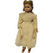 14 inch Antique POURED WAX DOLL 1870s Sleep Eyes, Original Clothes,Wig Unplayed with