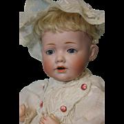 10 Inch Antique Kestner Hilda baby doll Fully marked Orig body dress Mohair wig