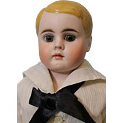 19 Inch Antique Blond side part molded hair Boy doll 229 9 Brown Eyes Cl mouth