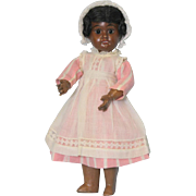 "11"" Black German Bisque doll with jointed body, adorably dressed Cute Cute!"