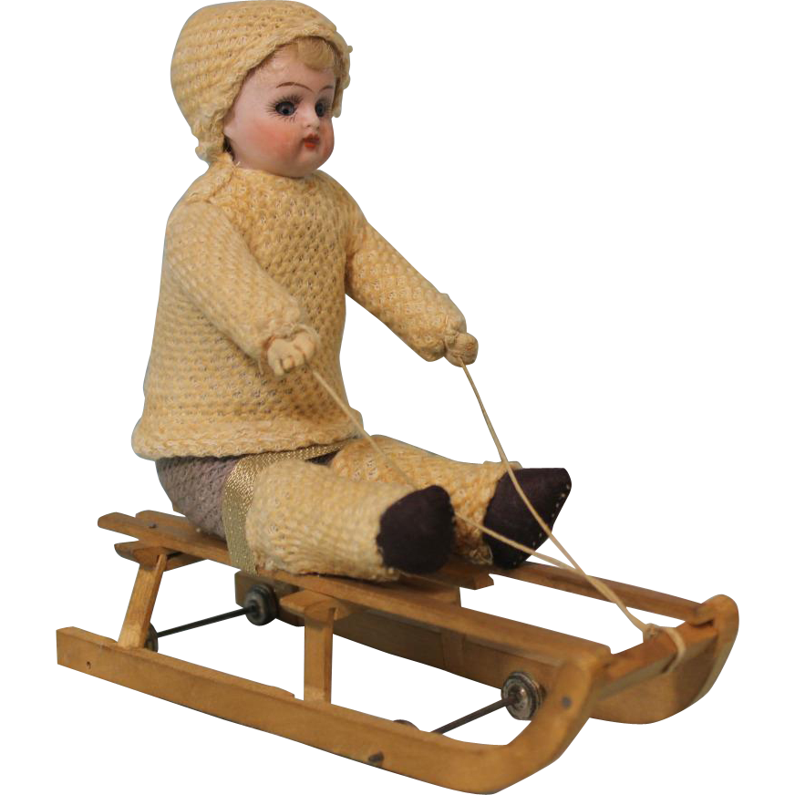 Antique German Bisque Doll marked 208 on Wooden Sled Snow Child c.1900