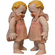TWO Twin 6 1/2 Inch Antique All Bisque Scootles dolls Rose O'Neill C.1920's