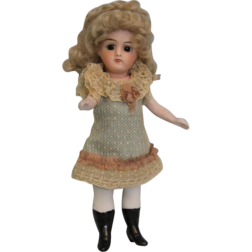 7 inch Antique All Bisque French doll by Jules Verlingue,Swivel Head, Black Boots