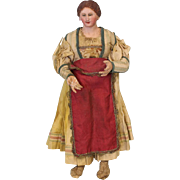 Early 14 inch Neapolitan Creche Circa 1800s Village woman Original Clothes Nice Condition