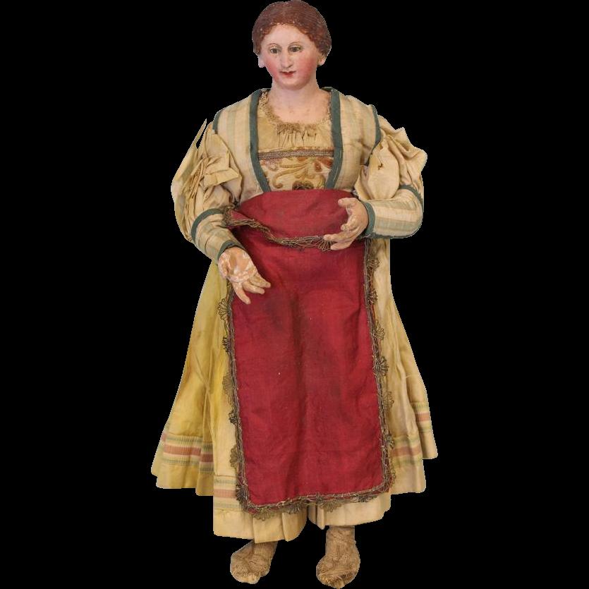 Early 14 inch Neapolitan Creche Circa 1800s Village woman Original Clothes Nice Condition