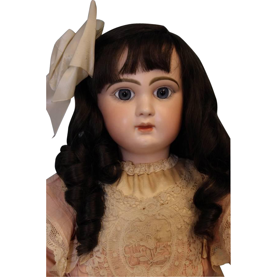 "Antique 26"" Closed Mouth Tete Jumeau with blue eyes, Pretty Clothes, Ca.1885"