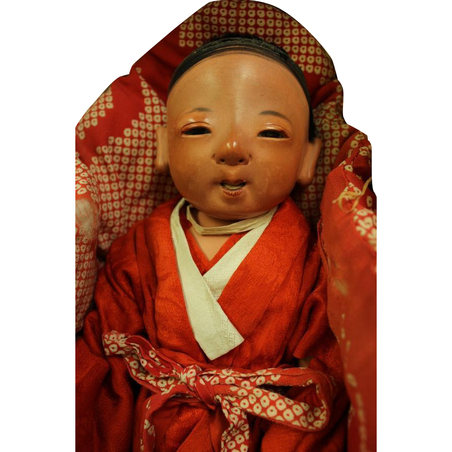 "16"" Japanese Ichimatsu Sexed Boy Baby ca.1880 Red Tint Gofun Kimono & Orig box"