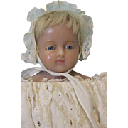 "Antique 23"" English Poured Wax Doll Attributed to Montanari c.1880 Nice Clothes"