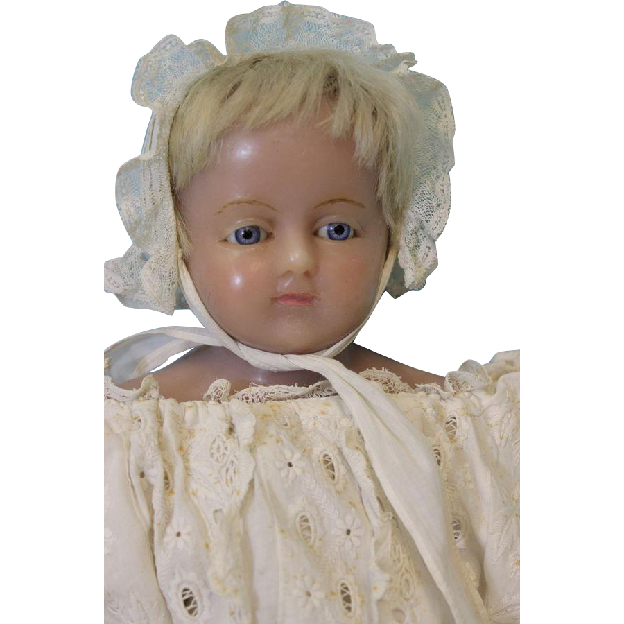 """Antique 23"""" English Poured Wax Doll Attributed to Montanari c.1880 Nice Clothes"""