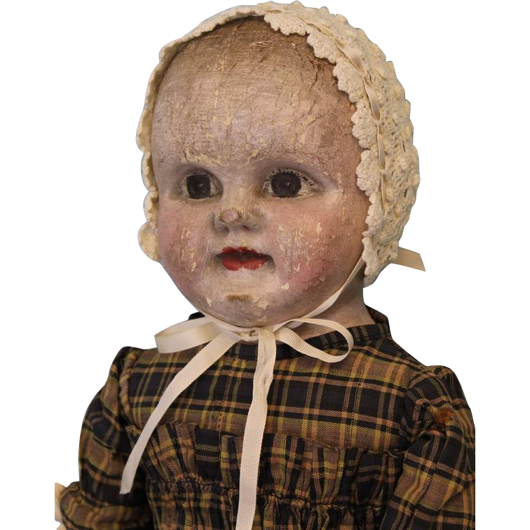 "21"" Antique Cloth Oil Painted Philadelphia Baby Doll J.B. Sheppard Dept Store"