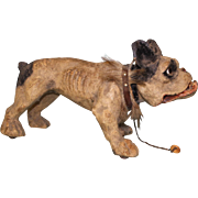 Antique circa 1890 French Bulldog Growling w Pullstring On Wheels Papier Mache