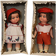 6.5 Inch German Heubach Koppelsdorf 439 Glass Eyed Googly Bisque Dolls Twins MIB