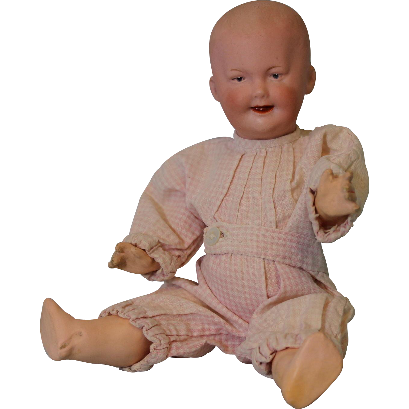 8 inch Gebruder Heubach 7647 German bisque boy molded hair boo boo Bargain