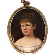 Antique Pendant Hand Painted Portrait on Porcelain & Mother of Pearl circa 1870