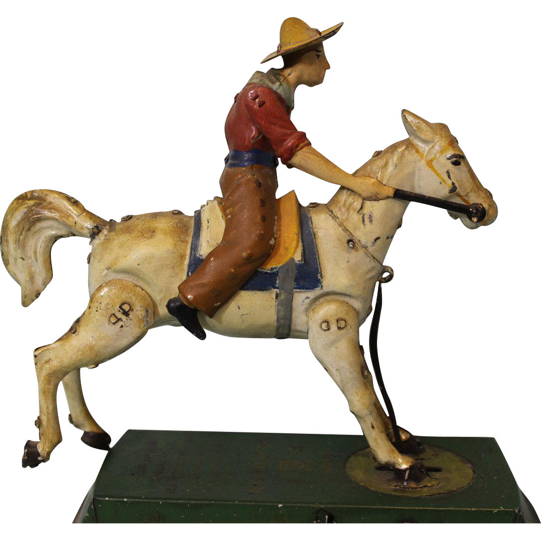 Lehmann 625 Wild West Bucking Bronco Works, Original Paint 7 inch X 7 inch