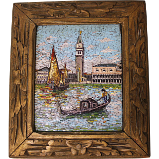 Antique 7 X 8-1/2 inch intricate Mosaic art of Venice Framed Non smoking home