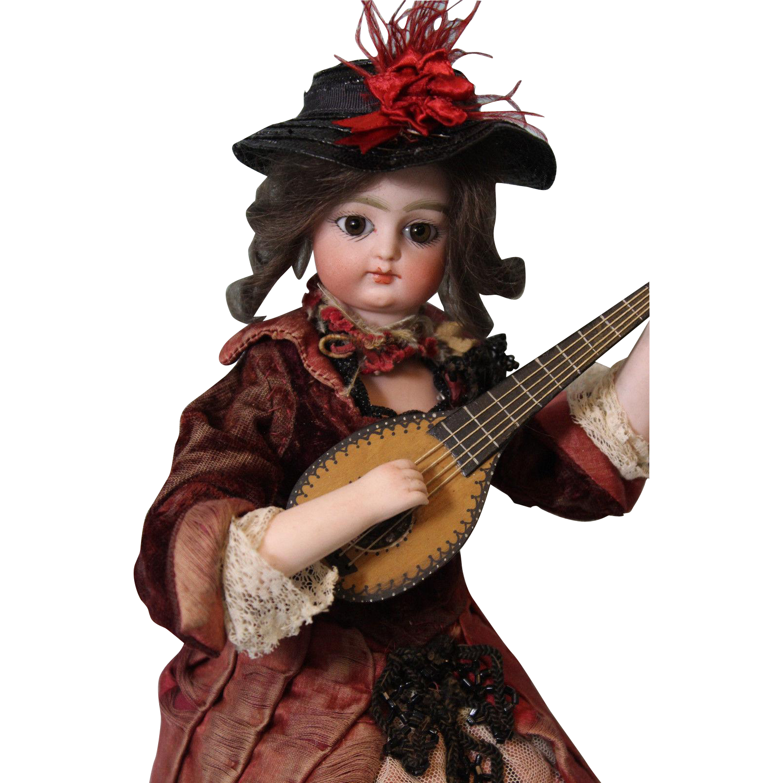 "12"" Automaton Block Letter FG Doll Works well is dressed Strumming a Mandolin"