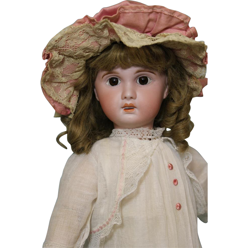 "Antique 20"" Jumeau Doll 1907 Original Clothes Human Hair Wig Cork Pate"