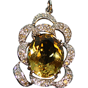Beautiful Ladies 14k Yellow and White Gold Yellow Quartz & Diamond Pendant