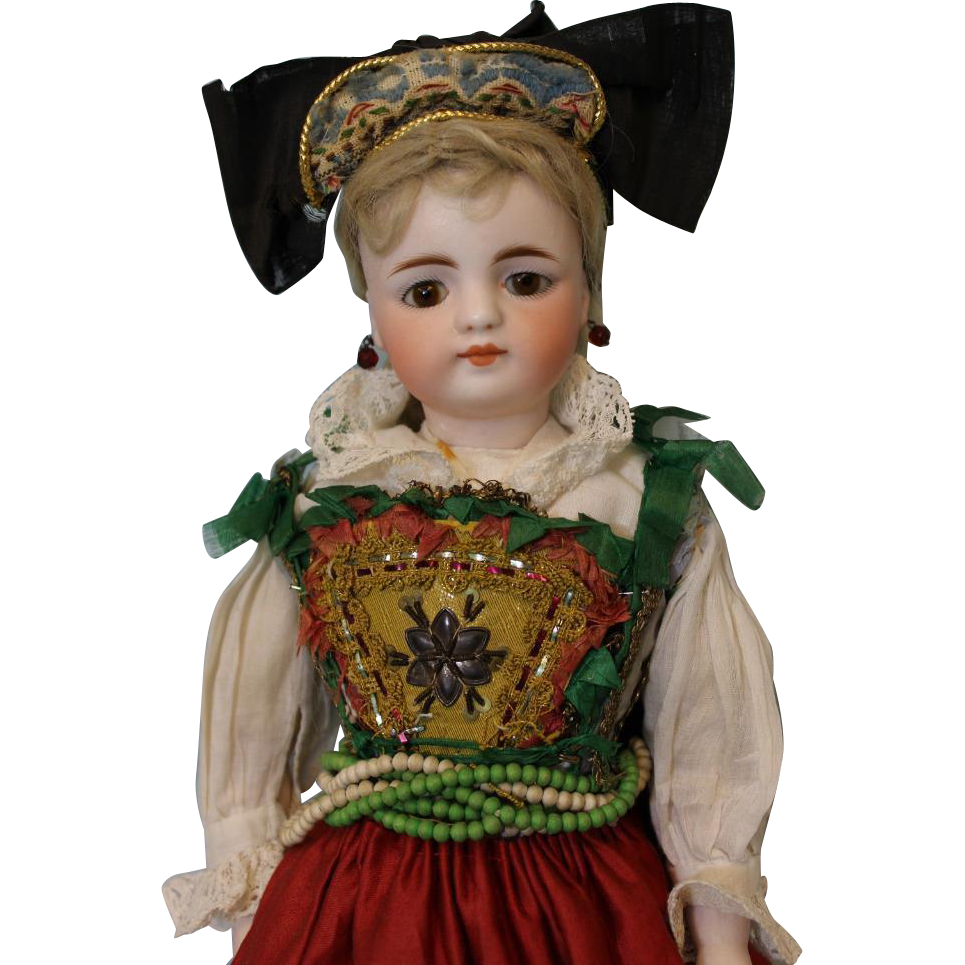 Antique 16 inch Simon & Halbig doll Orig German costume Bisque barefoot legs