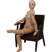 """Antique 18"""" French Fashion Jumeau Poseable Wood Body doll in trunk, clothes 1875"""
