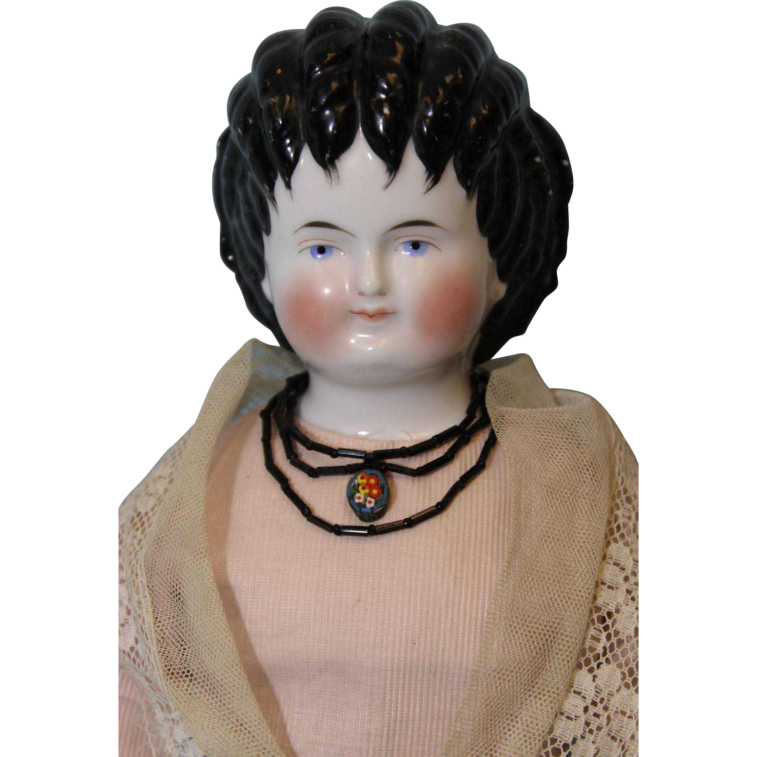 "Antique 18"" Curly Top Alt Beck and China Head Doll Germany c.1868 Antique body"