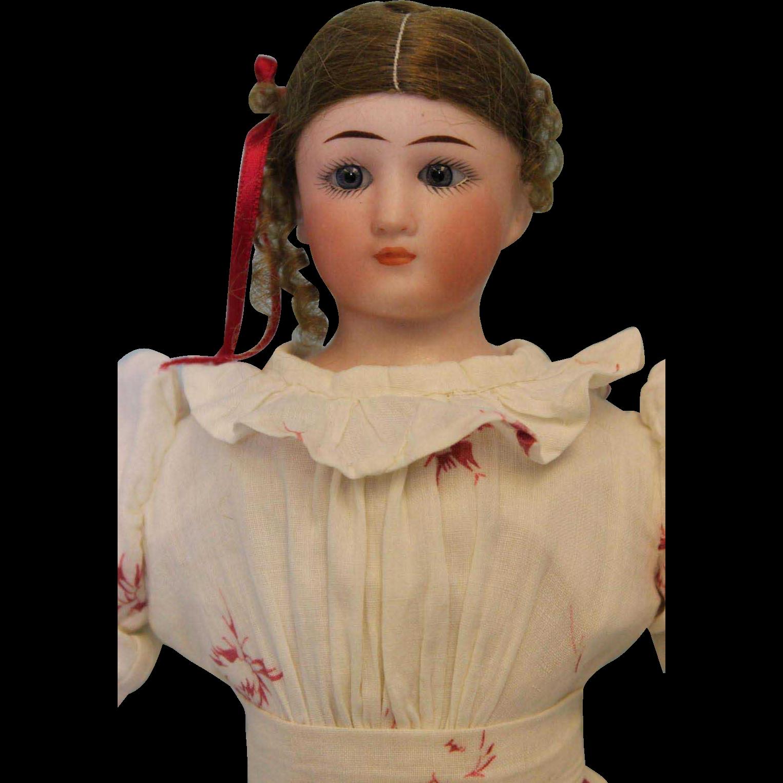 "Antique 13"" Simon and Halbig Little Woman doll 1160 nice antiq. dress orig. wig"