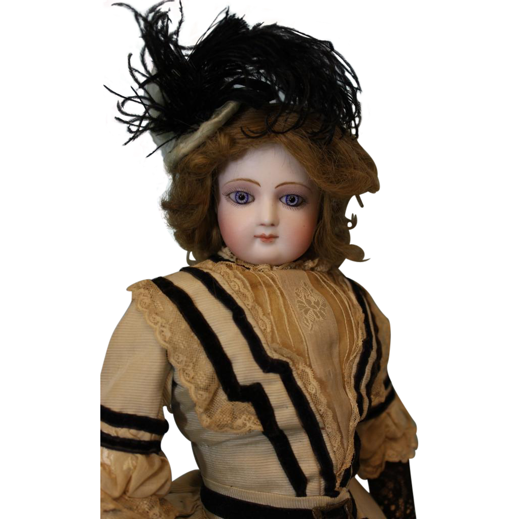 Antique 17 inch Portrait Jumeau Fashion Doll French Bisque AntiqueGown hat shoes