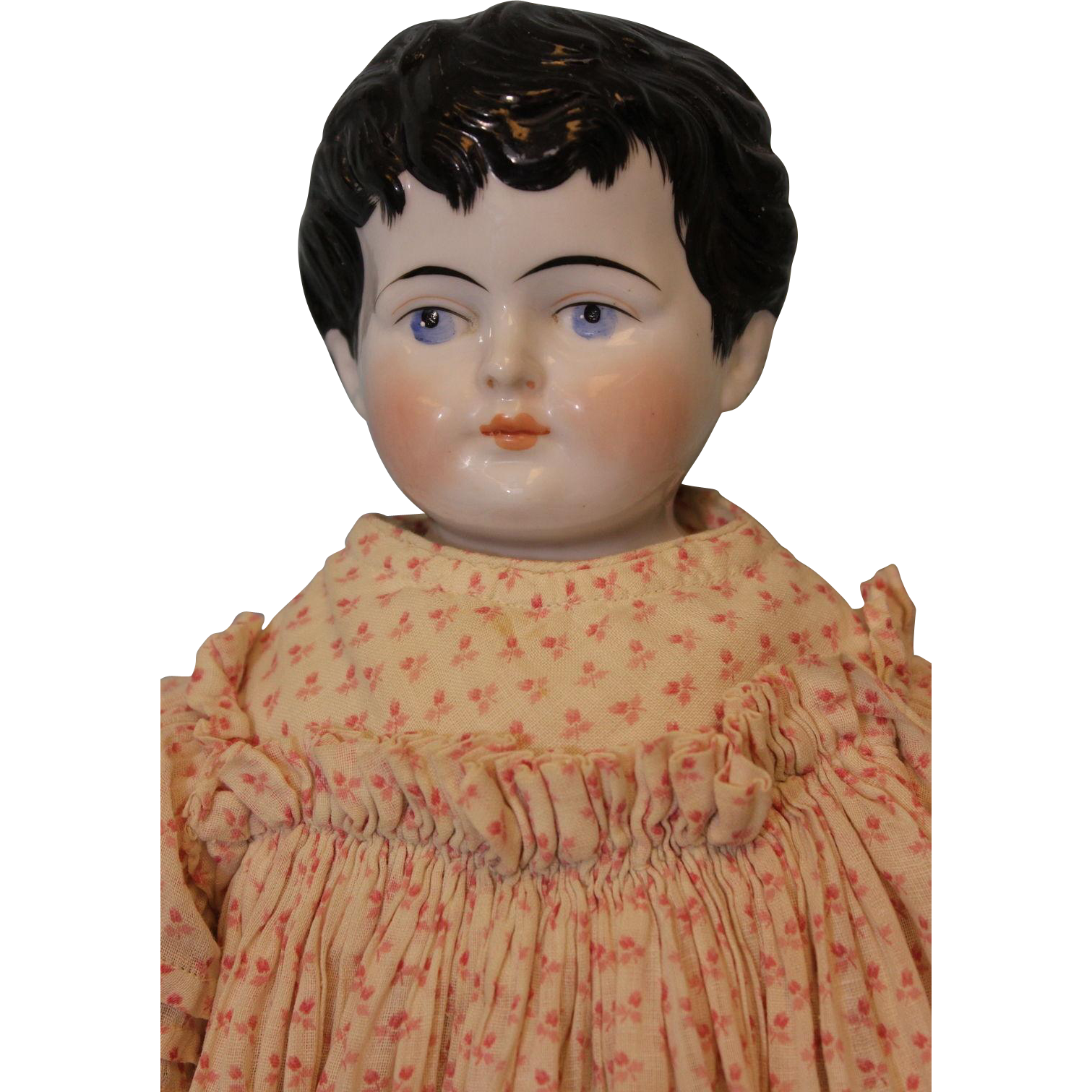 Antique 20 inch German China head girl doll Short wispy hair Exposed ears 1880s