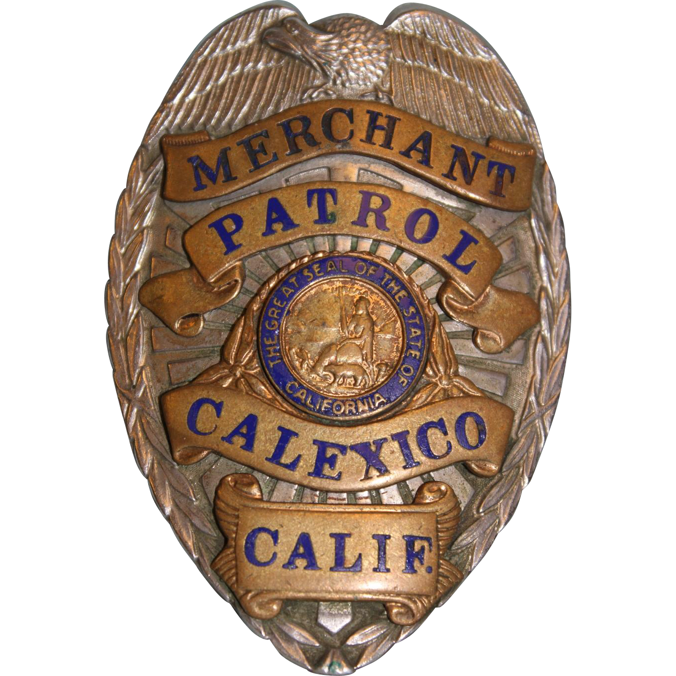 "OLD Merchant Patrol Calexico California Nickel & Brass Badge  3-1/4"" X 2-1/4"""