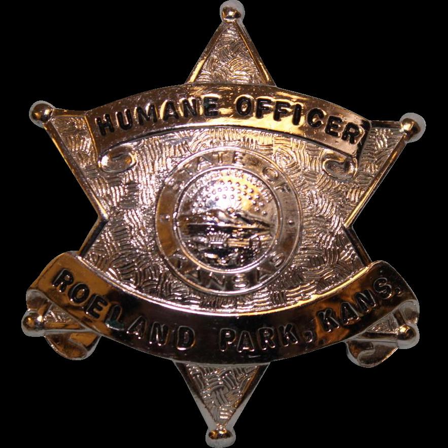"Humane Officer Nickel Roeland Park Kansas Badge 2"" X 2"""