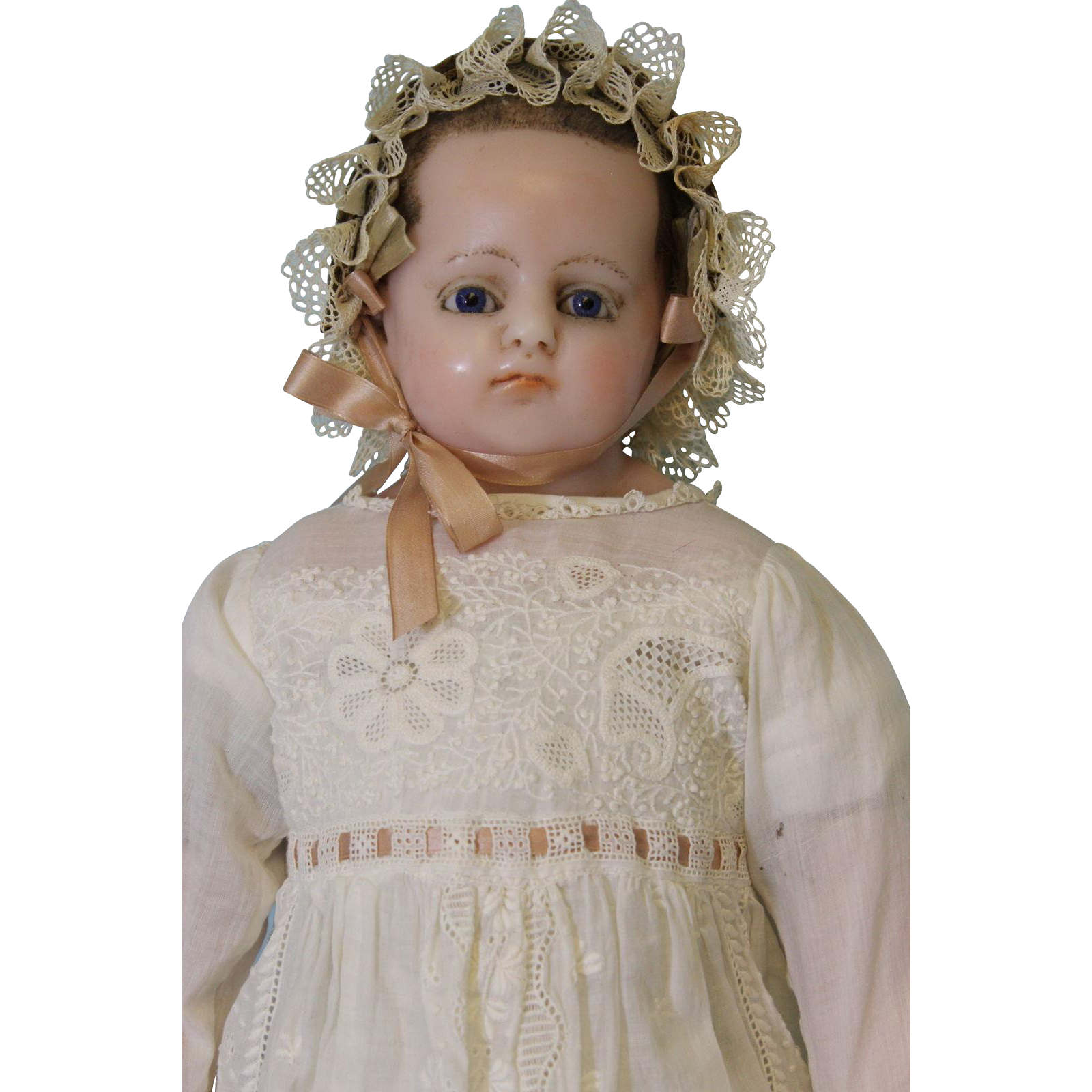 "Antique 24"" English Poured Wax Doll  Ca.1890"