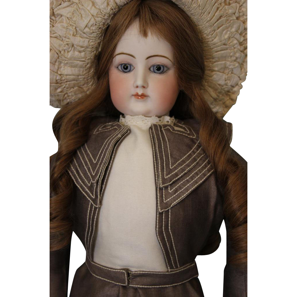 "Antique 26"" Francois Gaultier French Fashion doll Ca.1875 HH Wig Blue PW Eyes"