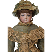 18 inch Jumeau French Fashion Doll #4 orig Fashion body antique dress, Blue eyes