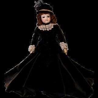 """14"""" Antique Jumeau French bisque Fashion Doll Orig fashion body Cobalt blue eyes"""