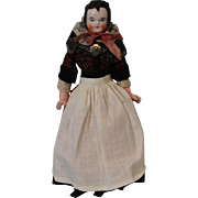 Early 11 inch Biedermeir China head doll Orig Ethnic Clothes Widows Peak apron!