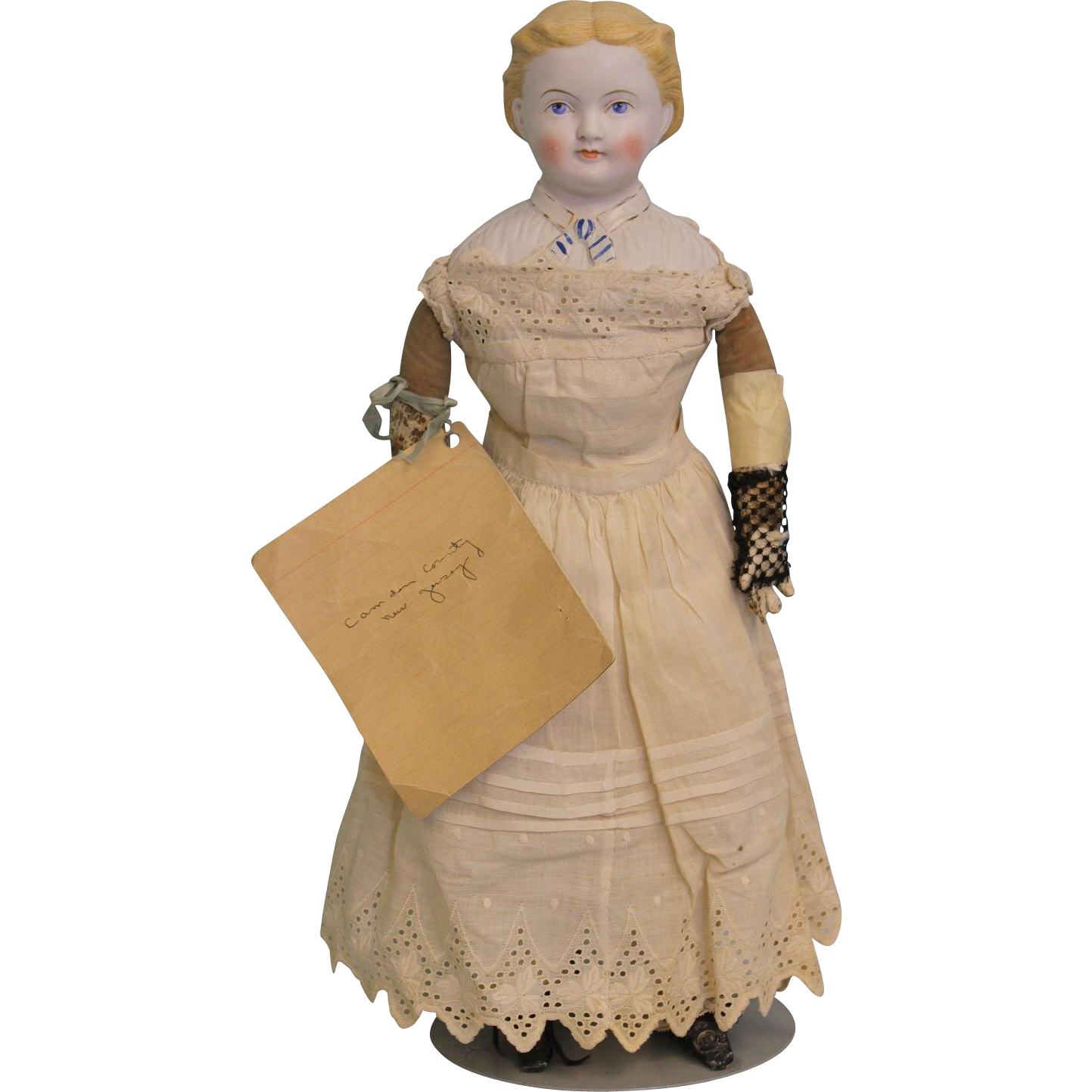 "Antique 17"" Parian German 1870 Doll with Provenance"