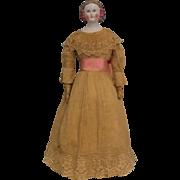 "Unusual 21"" German Blonde Porcelain China Lady Doll Snood & Pink Hair Bows c1865"