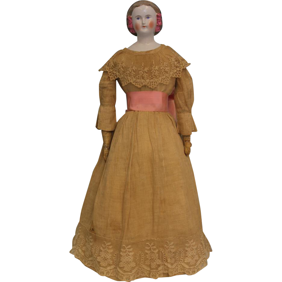 "Unusual 21"" German Blonde Porcelain China Lady Doll Snood & Pink Hair Bows c1865"